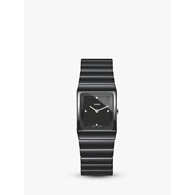 Rado R21702702 Women's Diamond Ceramic Bracelet Strap Watch, Black
