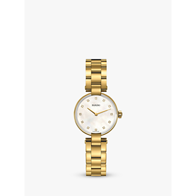 Rado R22857923 Women's Coupole Diamond Bracelet Strap Watch, Gold/Mother of Pearl