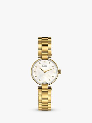 Rado R22857923 Women's Coupole Diamond Bracelet Strap Watch, Gold/Mother of Pearl