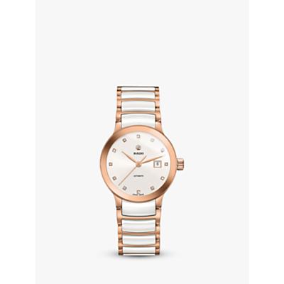 Rado R30183742 Women's Centrix Diamond Date Automatic Bi-Material Bracelet Strap Watch, Rose Gold/White