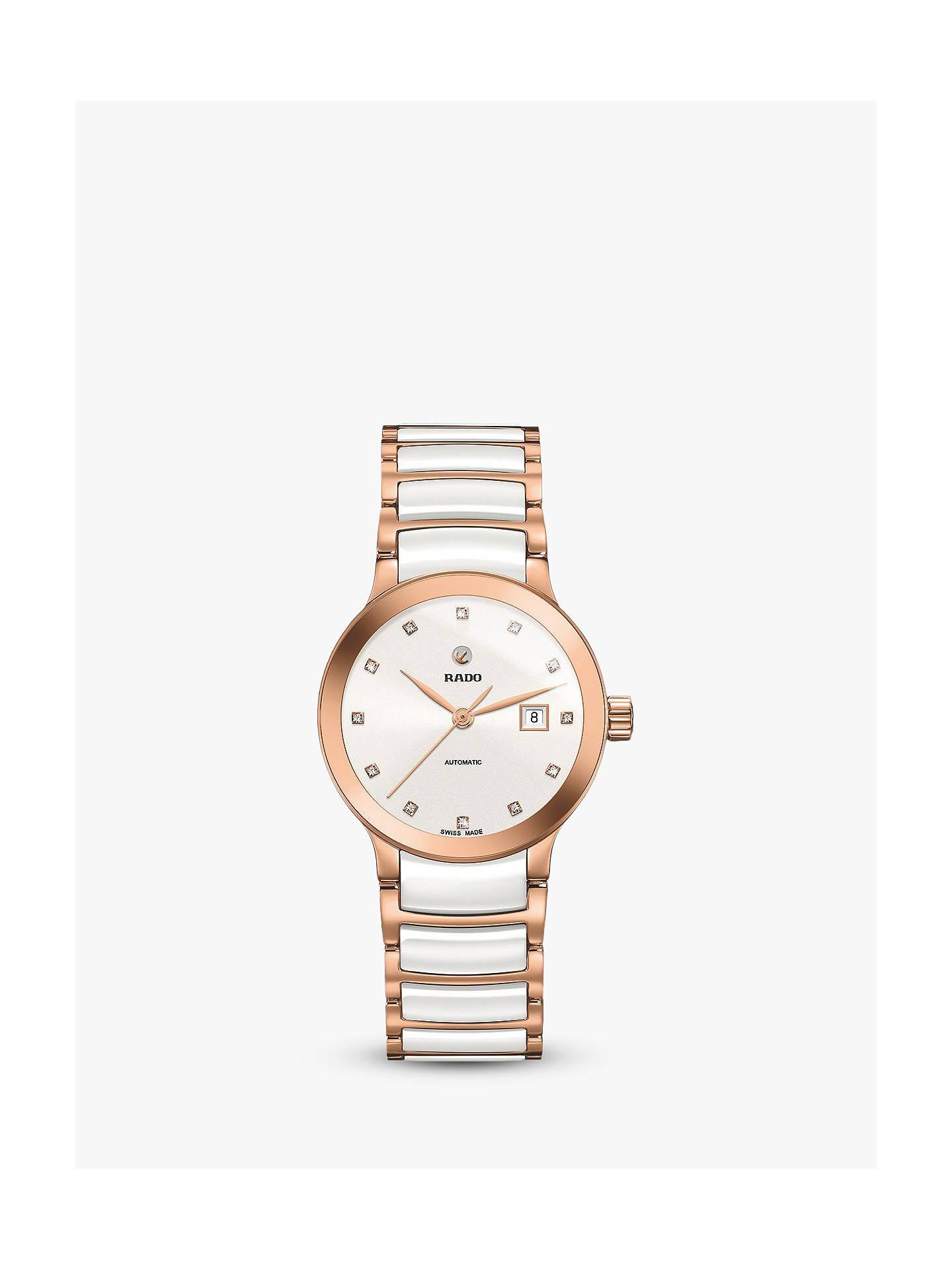 56669cf8b Buy Rado R30183742 Women's Centrix Diamond Date Automatic Bi-Material  Bracelet Strap Watch, Rose ...