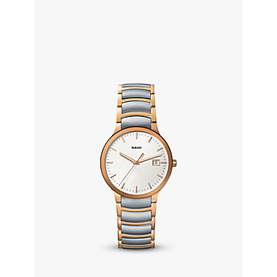 Rado R30554103 Unisex Centrix Date Two Tone Bracelet Strap Watch, Silver/Rose Gold