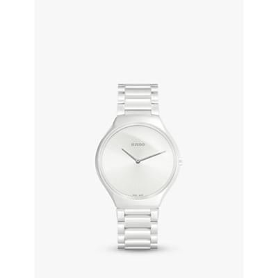 Rado R27957012 Unisex True Thinline Ceramic Bracelet Strap Watch, White