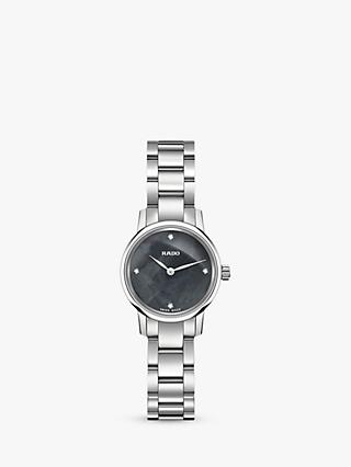 Rado R22890963 Women's Classic Coupole Mini Diamond Bracelet Strap Watch, Silver/Charcoal