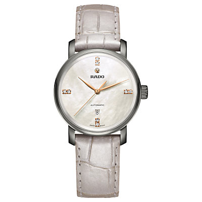 Rado R14026945 Women's Diamaster Diamond Date Automatic Leather Strap Watch, Cream/Mother of Pearl