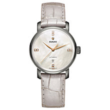 Buy Rado R14026945 Women's Diamaster Diamond Date Automatic Leather Strap Watch, Cream/Mother of Pearl Online at johnlewis.com