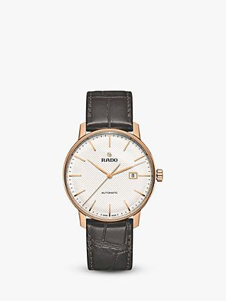 Rado R22877025 Unisex Coupole Classic Date Automatic Leather Strap Watch, Black/Grey