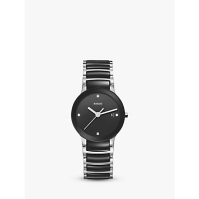 Rado R30935712 Unisex Centrix Diamond Bi-Material Bracelet Strap Watch, Silver/Black