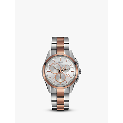 Rado R32039102 Unisex Hyperchrome Chronograph Date Bi-Material Bracelet Strap Watch, Silver/Rose Gold