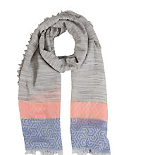 Buy White Stuff Perfect Stripe Scarf, Fresh Grey Online at johnlewis.com