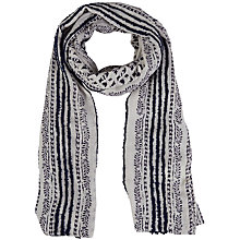 Buy White Stuff Poet's Corner Stripe Leaf Print Scarf, Material Cream Online at johnlewis.com
