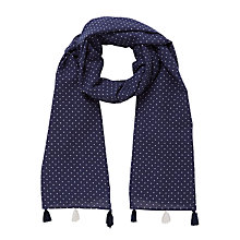 Buy John Lewis Girls' Cross Dot Long Tassel Scarf, Navy Online at johnlewis.com
