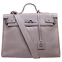 Buy Kurt Geiger Britt Leather Tote Bag, Taupe Online at johnlewis.com