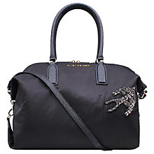 Buy Kurt Geiger Nylon & Saffiano Leather Satchel, Black Online at johnlewis.com