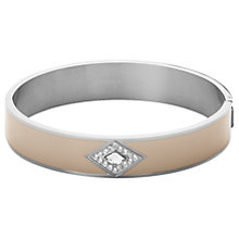 Buy Dyrberg/Kern Enamel Diamond Shape Crystal Bangle, Silver/Sand Online at johnlewis.com