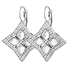 Buy Dyrberg/Kern Crystal Square Hook Drop Earrings, Silver Online at johnlewis.com