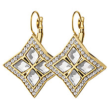 Buy Dyrberg/Kern Rhomboid Swarovski Crystal Hook Drop Earrings, Gold Online at johnlewis.com