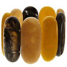 Buy John Lewis Large Oval Bead Stretch Bracelet, Grey/Amber Online at johnlewis.com