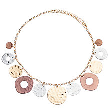 Buy John Lewis Hammered Mixed Metal Disc Necklace, Multi Online at johnlewis.com