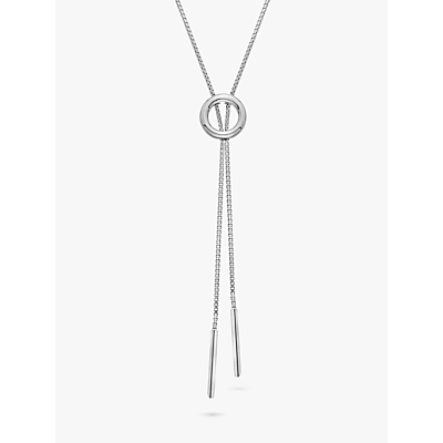 Image of            Hot Diamonds Circle Lariat Necklace, Silver