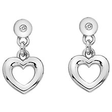 Buy Hot Diamonds Heart Drop Earrings, Silver Online at johnlewis.com