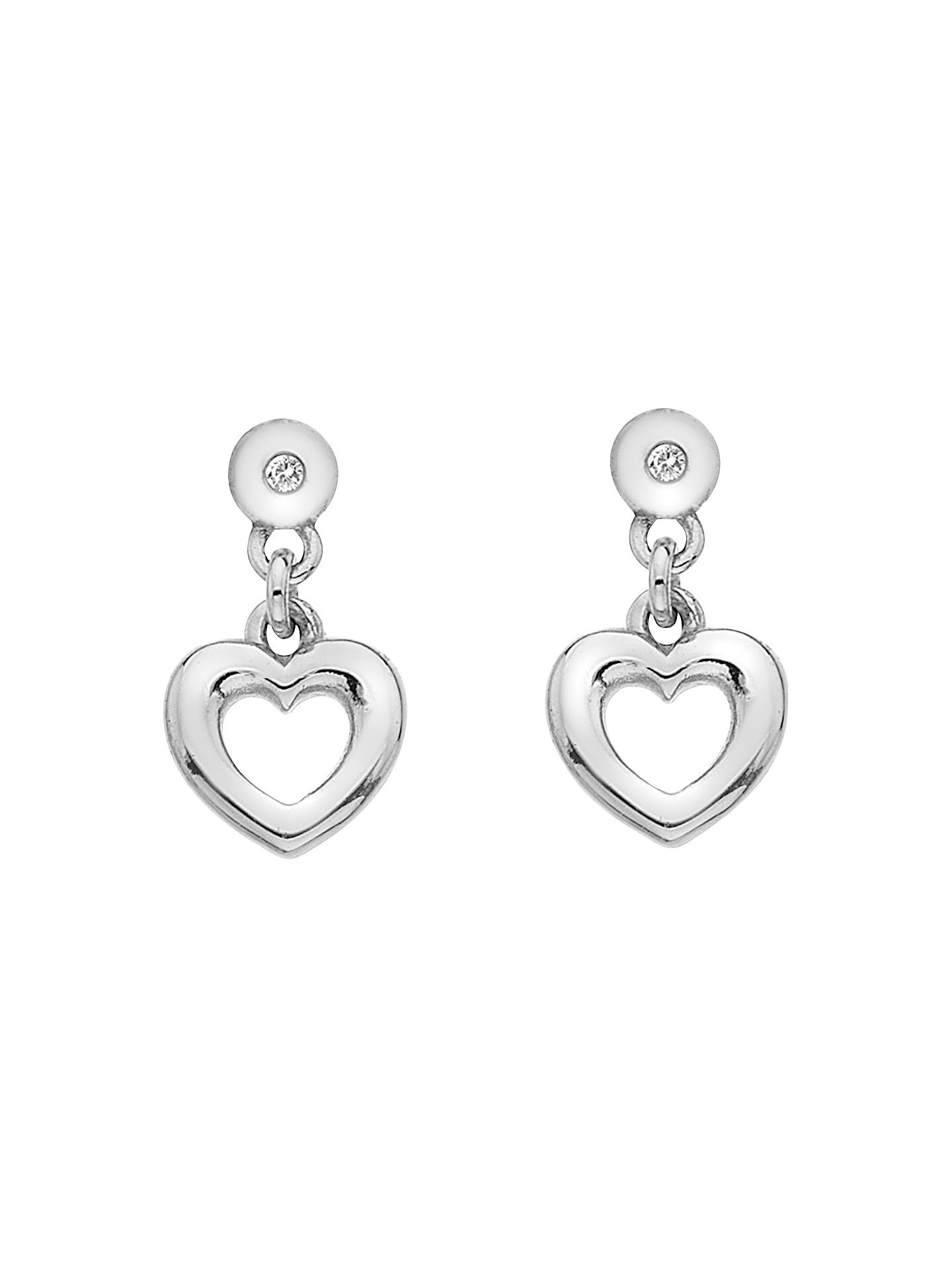 Hot Diamonds Heart Drop Earrings Silver Online At Johnlewis