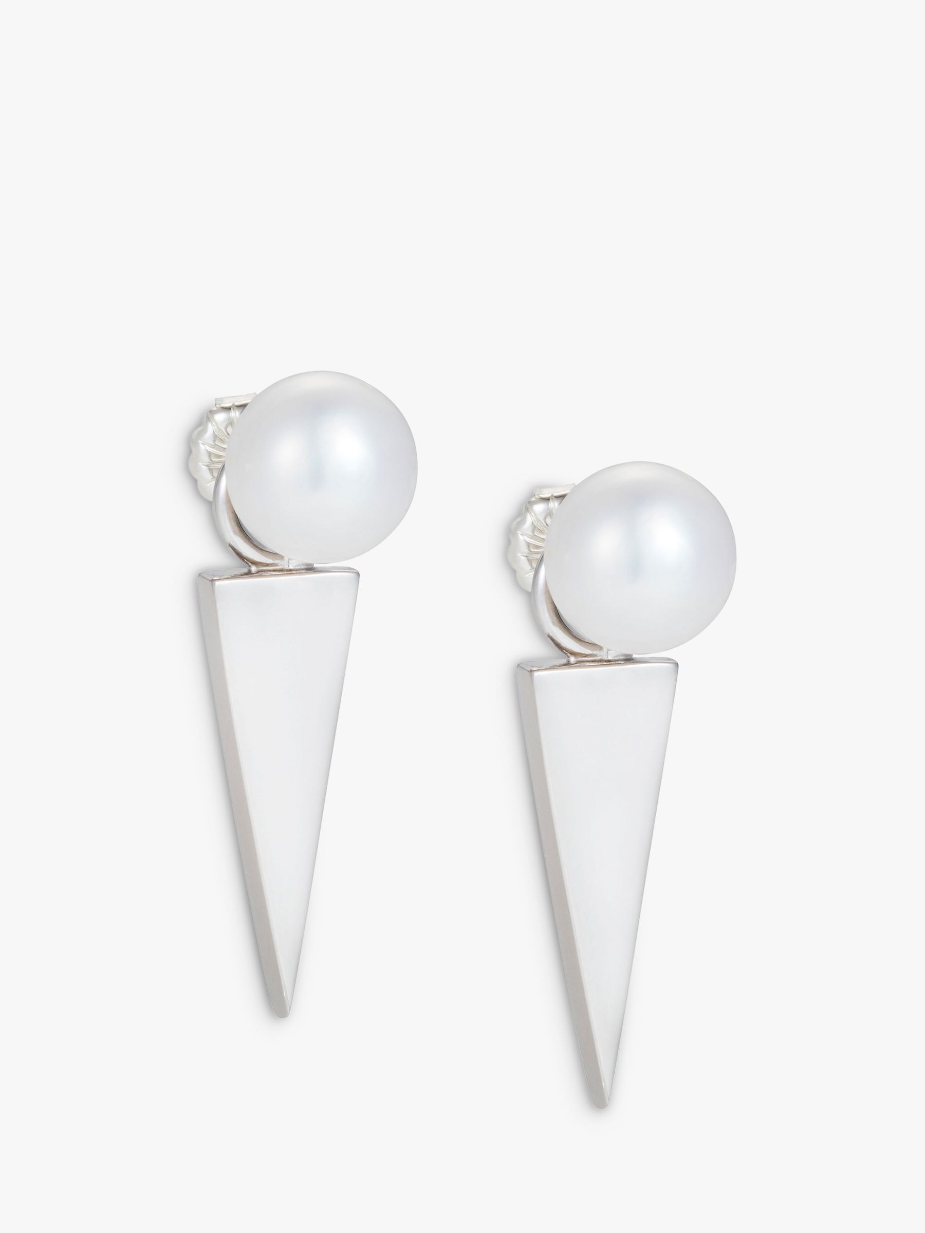 Claudia Bradby Claudia Bradby Freshwater Pearl Geometric Blade Drop Earrings, Silver/White