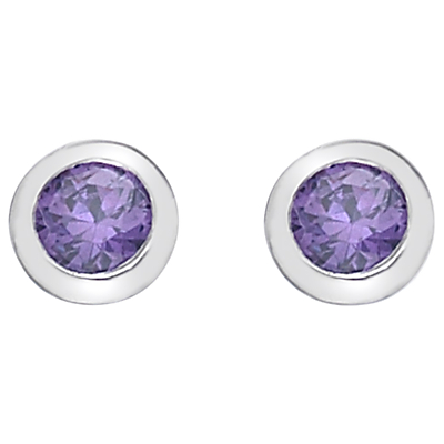Hot Diamonds Round Cubic Zirconia and Diamond Stud Earrings, Purple