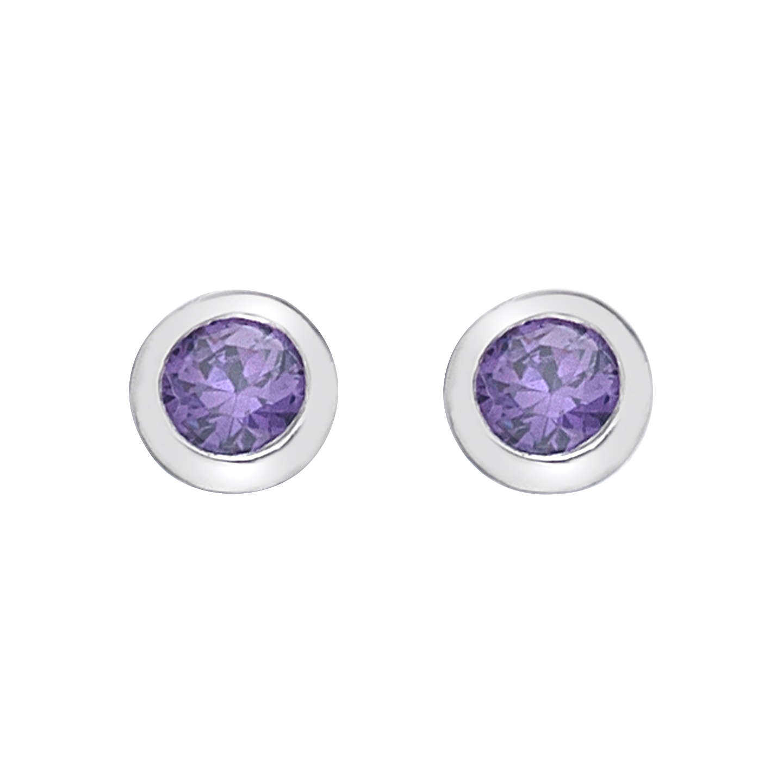Hot Diamonds Round Cubic Zirconia And Diamond Stud Earrings Purple Online At Johnlewis