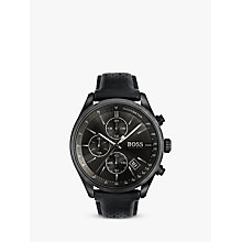 Buy HUGO BOSS Men's Grand Prix Chronograph Date Leather Strap Watch Online at johnlewis.com