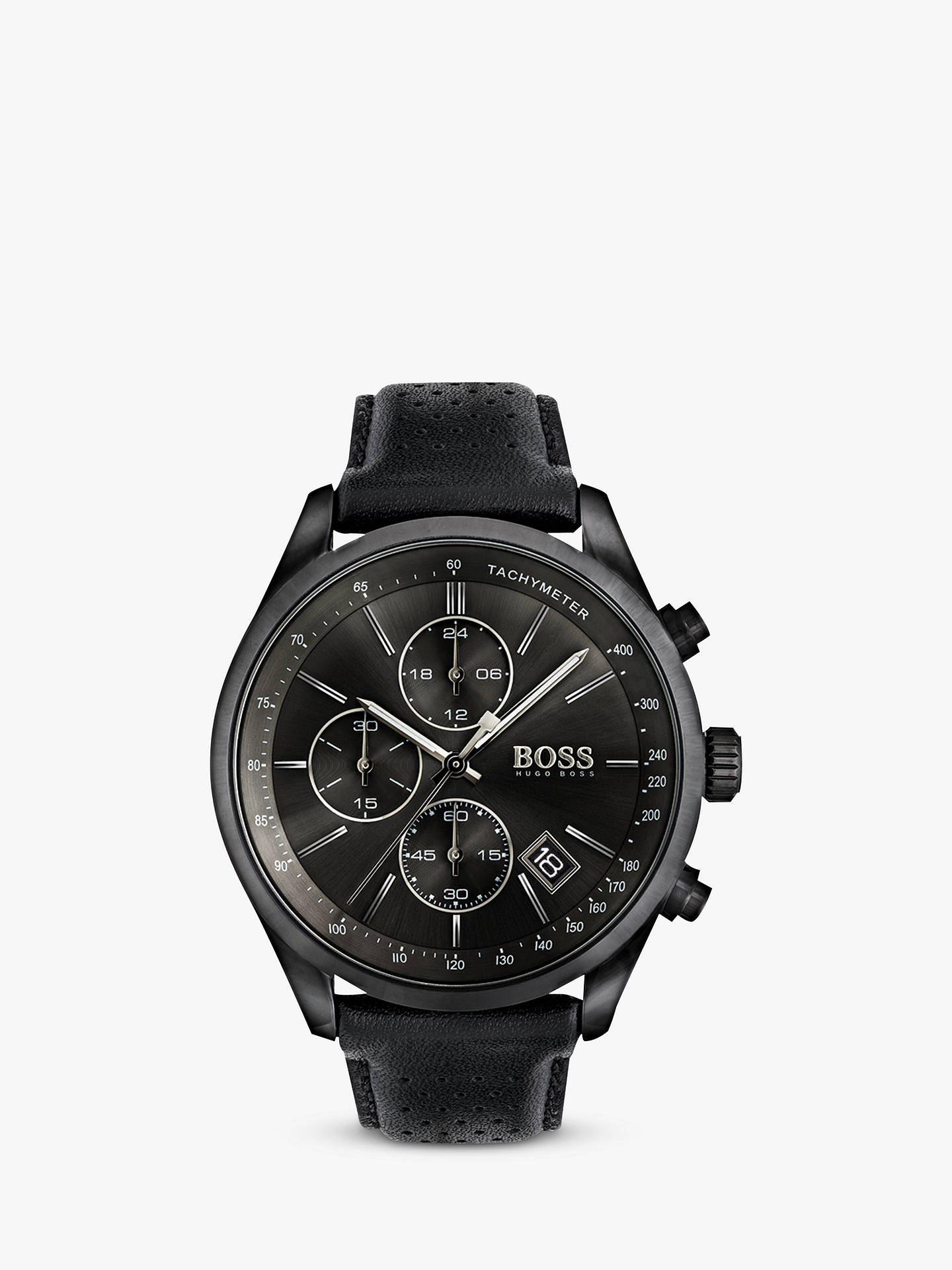 Hugo Boss Men S Grand Prix Chronograph Date Leather Strap Watch Black