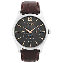 Buy HUGO BOSS 1513490 Men's Commander Day Leather Strap Watch, Maroon/Black Online at johnlewis.com