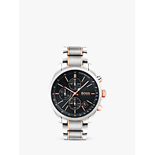 Buy HUGO BOSS 1513473 Men's Grand Prix Chronograph Date Bracelet Strap, Silver/Black Online at johnlewis.com