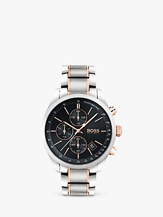 HUGO BOSS 1513473 Men's Grand Prix Chronograph Date Bracelet Strap, Silver/Black