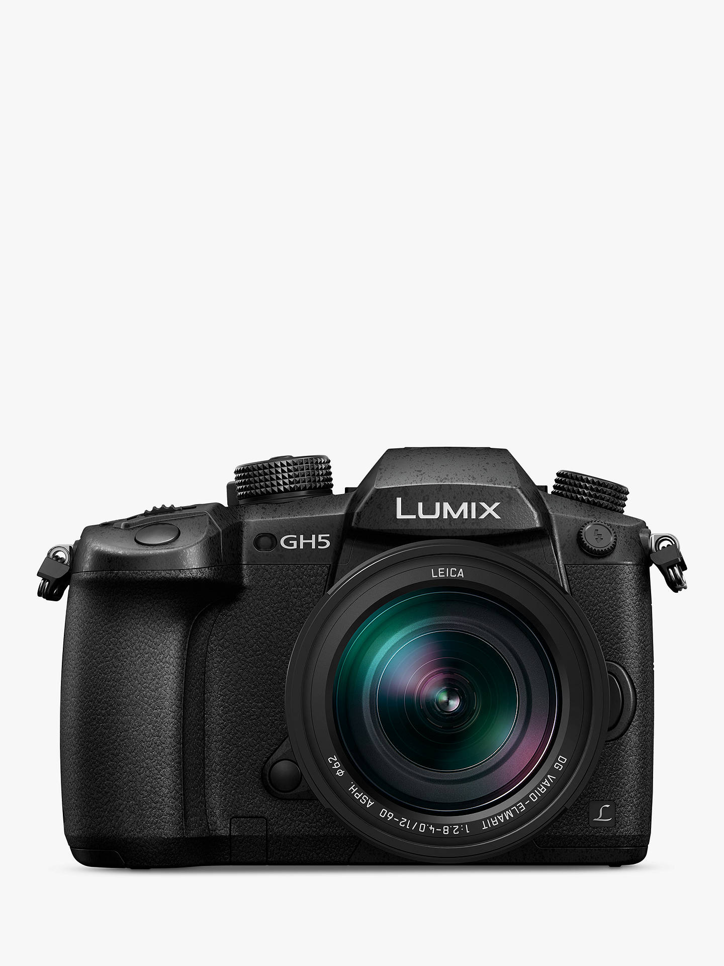 """Panasonic Lumix DC-GH5 Compact System Camera with Leica 12-60mm O I S   Interchangeable Lens, 4K UHD , 20 3MP, Wi-Fi, OLED Live Viewfinder, 3 2""""  LCD"""