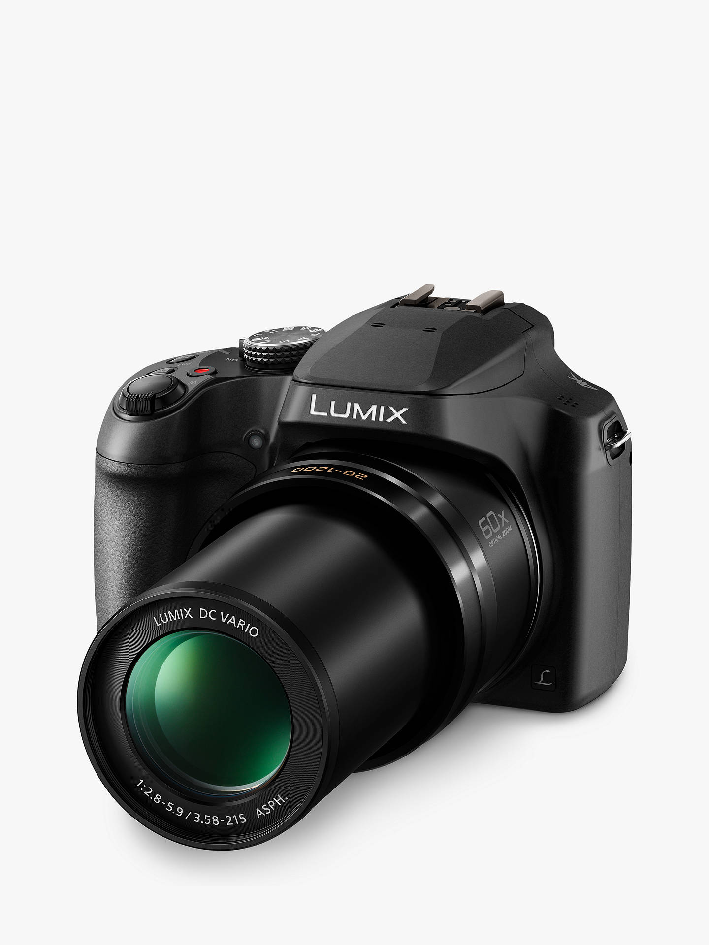 "BuyPanasonic Lumix DC-FZ82 Bridge Camera, 4K UHD, 18.1MP, 60x Optical Zoom,  Wi-Fi, Live Viewfinder, 3"" LCD Touch Screen Online at johnlewis.com"