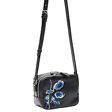 Buy French Connection Poppy Embroidered Across Body Bag, Black Online at johnlewis.com