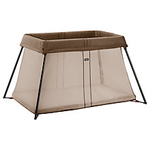 Buy BabyBjörn Travel Cot Light, Brown Online at johnlewis.com