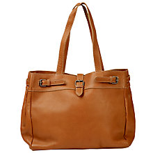 Buy Fat Face Three Buckle Leather Tote Bag, Tan Online at johnlewis.com