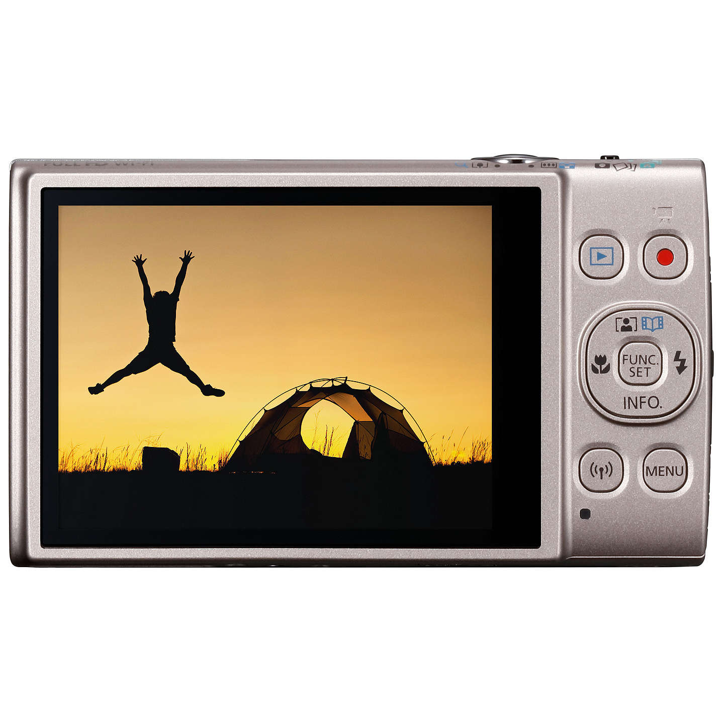 "BuyCanon IXUS 285 HS Digital Camera Kit, Full HD 1080p, 20.2MP, 12x Optical Zoom, 24x Zoom Plus, Wi-Fi, NFC, 3"" LCD Screen With Leather Case & 16GB SD Card, Silver Online at johnlewis.com"