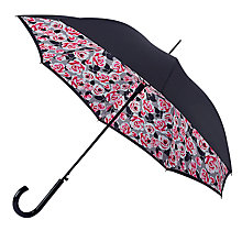 Buy Fulton Bloomsbury Roses Print Walking Umbrella, Black/Pink Online at johnlewis.com