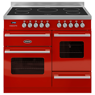 Image of BRITANNIA Delphi 100 XG Electric Induction Range Cooker - Gloss Red & Stainless Steel, Stainless Steel