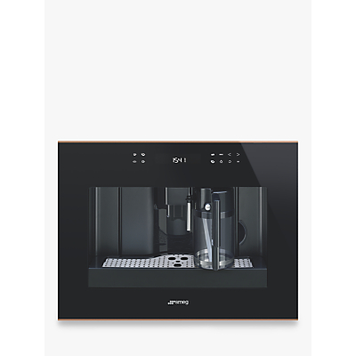 Smeg CMS4601NR Dolce Stil Novo Built-in Bean-to-Cup Coffee Machine, Black/Copper