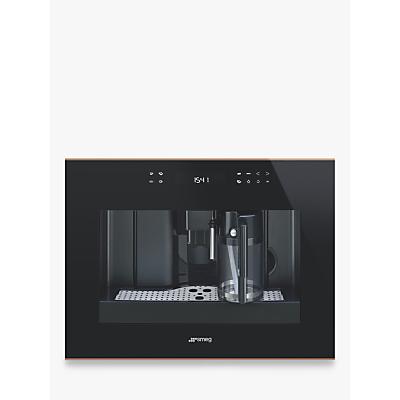 Smeg CMS4601NR Dolce Stil Novo Built-in Bean-to-Cup Coffee Machine, Black/Copper