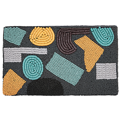 Product photo of Jaeger abstract beaded clutch bag navy