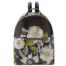 Buy Ted Baker Alba Gem Gardens Leather Backpack, Black Online at johnlewis.com