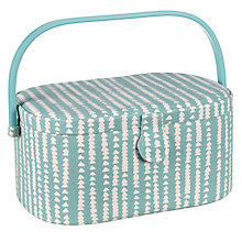 Buy John Lewis Xander Oval Sewing Basket, Blue Online at johnlewis.com