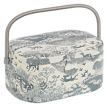 Buy John Lewis Heartwood Scenic Print Oval Sewing Basket, Grey Online at johnlewis.com