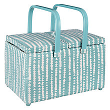 Buy John Lewis Xander Print Twin Lid Sewing Basket, Blue Online at johnlewis.com