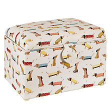 Buy John Lewis Sausage Dog Print Medium Sewing Basket, White Online at johnlewis.com